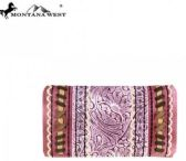 4 Units of Montana West Tooled Collection Secretary Style Wallet Pink