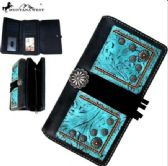 4 Units of Montana West Concho Collection Secretary Style Wallet Black
