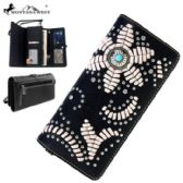4 Units of Montana West Concho Collection Wallet Floral Design Black