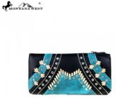 4 Units of Montana West Western Tooling Collection Wallet Black Turquoise