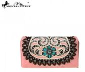 4 Units of Montana West Concho Collection Secretary Style Wallet PINK