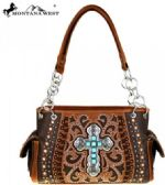 "2 Units of Montana West Spiritual Collection Satchel Vintage Cross Coffee 14.5"" X 5"" X 8"" (Drop 11"")"