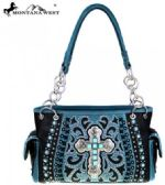 2 Units of Montana West Spiritual Collection Satchel Vintage Cross Black Blue