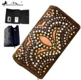 4 Units of Montana West Bling Bling Collection Secretary Style Wallet Brown