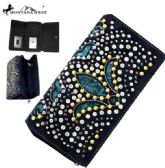 4 Units of Montana West Bling Bling Collection Secretary Style Wallet Black