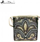 4 Units of Montana West Bling Bling Collection Crossbody Bag Black beige