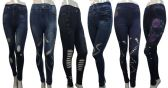 24 Units of Denim Print Legging with Variety Different Cut Patterns