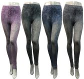 24 Units of Distressed Deniem Look Leggings Assorted