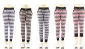 36 Units of Ladies Fur Lined Heather Striped Leggings In Size M-L - Womens Leggings