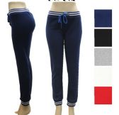 36 Units of Ladies Fleece Lined Stripped Waste - Assorted Colors Size S-M - Womens Leggings