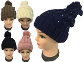 24 Units of Rhinestone Knitted Winter Hat with Pompom Assorted - Winter Beanie Hats