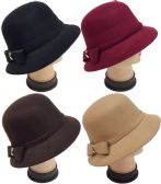 24 Units of Women Lady Cloche Hat with Bow Assorted Colors - Sun Hats