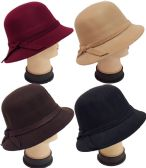 24 Units of Women Lady Cloche Hat with Hat Band Assorted Colors - Church Hats