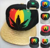 24 Units of Rasta Color Marijuana Leaf Snapback Hats