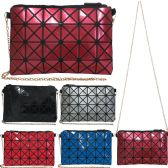 36 Units of Vibrant geometric print cross body bag with removeable chain. - Leather Purses and Handbags