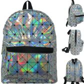 18 Units of Mini fashion backpack in geometric print silver hologram material. - Backpacks