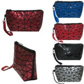 36 Units of Spider weave design wristlet / cosmetic bag with removeable wristlet in vibrant material. - Cosmetic Cases