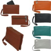 36 Units of Small double pocket wristlet / clutch with additional backside zipper closure compartment.