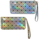 36 Units of Geometric print metallic holographic one zip wallet with a wristlet.