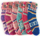 120 Units of Warm Soft Fuzzy Socks with Snow Flakes Assorted
