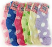 120 Units of Warm Soft Fuzzy Socks with Polka Dots Assorted Colors - Womens Fuzzy Socks