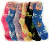 120 Units of Warm Soft Fuzzy Socks with Marijuana Leaf Assorted - Womens Fuzzy Socks