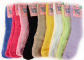 120 Units of Solid Color Ladies' Fuzzy Socks Assorted