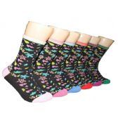 360 Units of Women's Pastel Floral Crew Socks