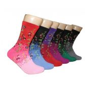 360 Units of Women's Floral Vines Crew Socks