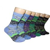 360 Units of Women's Abstract Print Crew Socks