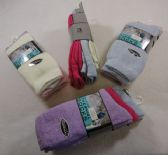 72 Units of Ladies Brushed Thermal Crew Socks 9-11 [Pastel] - Womens Crew Sock