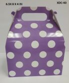 360 Units of CANDY BOX 6.5X8X4 IN LAVENDER POLKA DOT