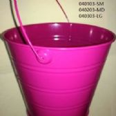 24 Units of METAL BUCKET SMALL IN HOT PINK - Buckets/Basins