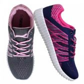 12 Units of Womens Fashion Sneakers In Gray And Pink