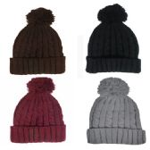 36 Units of LADIES POM POM WINTER HAT - ASSORTED COLORS