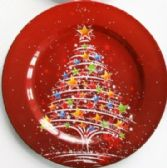 "24 Units of Plate 13"" Red, Christmas Tree"