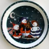 "24 Units of 3 Snowmen Tray 11.75"" Round"
