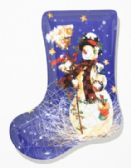 "24 Units of Plate, Stocking Shape- Snowman, 9-/2"" - Christmas Stocking"