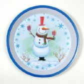 24 Units of Christmas Tray - Round, Snowman, 12""