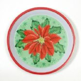24 Units of Christmas Tray-Round, Poinsettia, 12""
