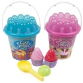 24 Units of 7 Piece Cupcake Beach Play Pail Set - Beach Toys