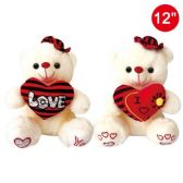 """12 Units of 12"""" Bear With Heart And Hat"""