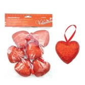 96 Units of 6 Pack Heart Pick With/Glitter