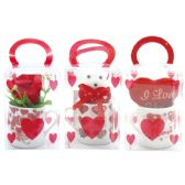 96 Units of Six Piece Lip Pick With Glitter - Valentine Decorations