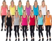 144 Units of Solid Ribbed Race Back Tank Top SIZE LARGE - Womens Camisoles / Tank Tops
