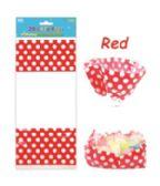 144 Units of Polka Dot Loot Bag Red - Valentine Gift Bag's