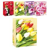 144 Units of Mothers Day Floral Bag Glitter Medium - Mothers Day