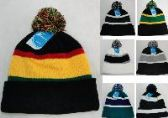 36 Units of DOUBLE-LAYER KNITTED HAT WITH POMPOM--ASSORTED COLORS