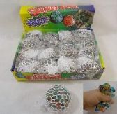 72 Units of MESH SQUISH BALL WITH WATER BEADS - Summer Toys