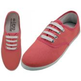 24 Units of Women's Lace Up Casual Canvas Shoes ( *Persimon Color )